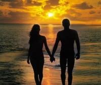 Paisajes de parejas con atardecer