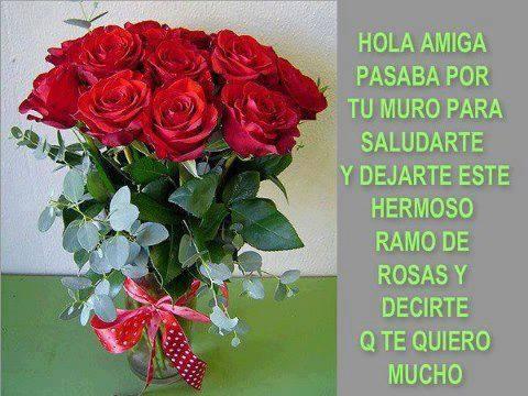 Imágenes de rosas con frases hola amiga | Imagenes de amor ...