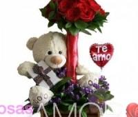 Imágenes de ositos tiernos con rosas con frases de te amo