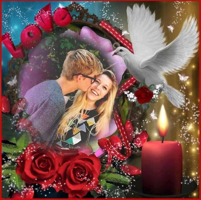 Fotomontaje-de-amor-con-paloma-velas-y-rosas