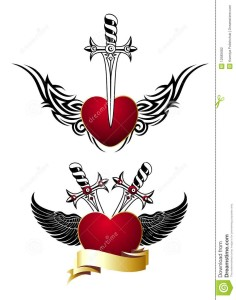 http://www.dreamstime.com/stock-photography-set-loving-hearts-wings-swords-tattoo-image12585682