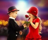 Imágenes románticas de niños con rosas