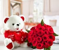Imágenes de osos con rosas rojas